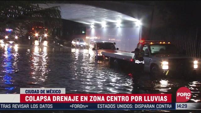 colapsa drenaje de zona centro de cdmx por lluvias
