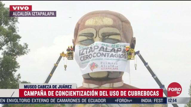 colocan cubrebocas al monumento cabeza de juarez en iztapalapa