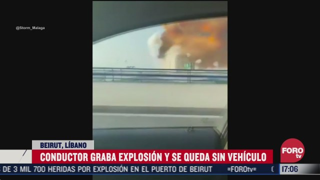 conductor graba desde su vehiculo explosion en puerto de beirut