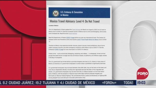 eeuu recomienda no viajar a mexico por inseguridad y covid con una alerta de viaje