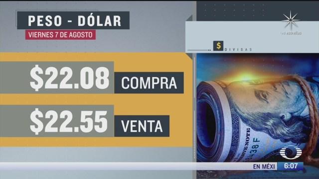 el dolar se vendio en 22 55 en la cdmx 7 agosto