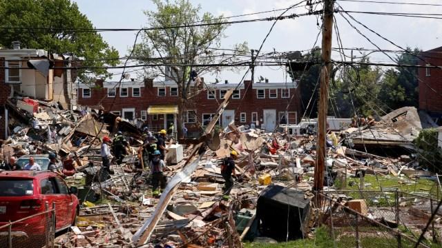 Explosión en Baltimore deja un muerto, cinco heridos y tres casas destruidas