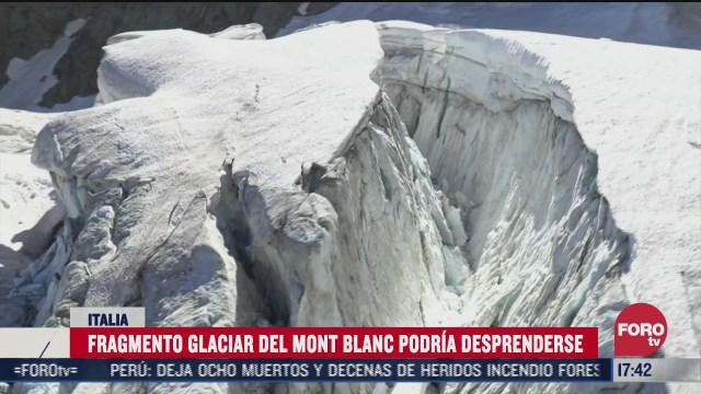 fragmento del glaciar mont blanc esta en riesgo de desprenderse