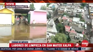 labores de limpieza en san mateo xalapa tras desbordar rio en xochimilco