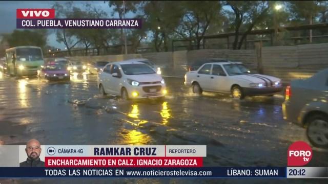 lluvia provoca encharcamientos en calzada zaragoza