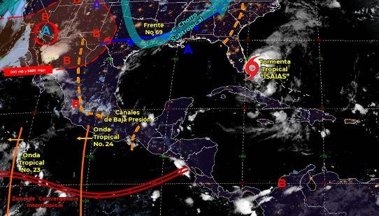 Mapa que muestra los sistemas meteorológicos del domingo 2 de agosto.