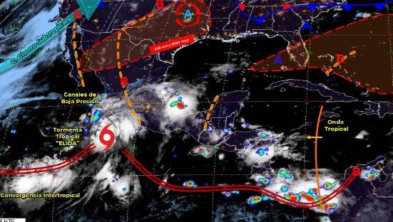 Mapa que muestra los sistemas meteorológicos del domingo 9 de agosto