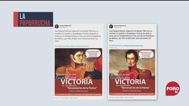 Padierna confunde a Guadalupe Victoria con Santa Anna, la paparrucha del día