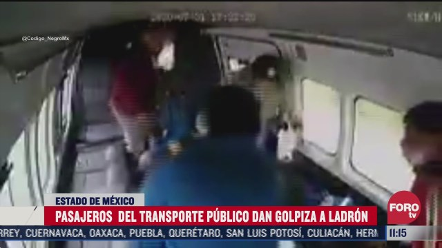 pasajeros golpean y desvisten a ladron en edomex