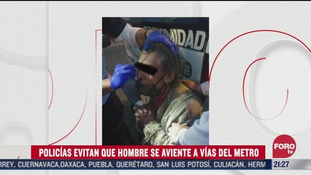 Policía de la Ciudad de México evitan el suicidio de abuelito en MEtro