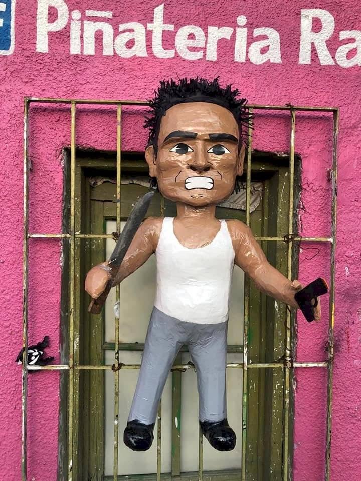 Crean piñata del señor de la combi en tamaulipas