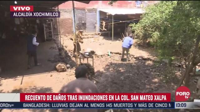 recuento de danos tras inundaciones en colonia san mateo xalpa xochimilco