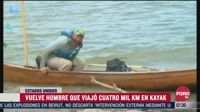 regresa a casa tras viajar miles de kilometros en kayak en eeuu