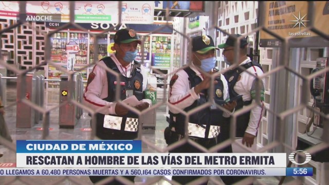 rescatan a hombre de las vias del metro ermita en la cdmx