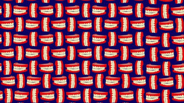 Encuentra las dentaduras sin diente. ilustración