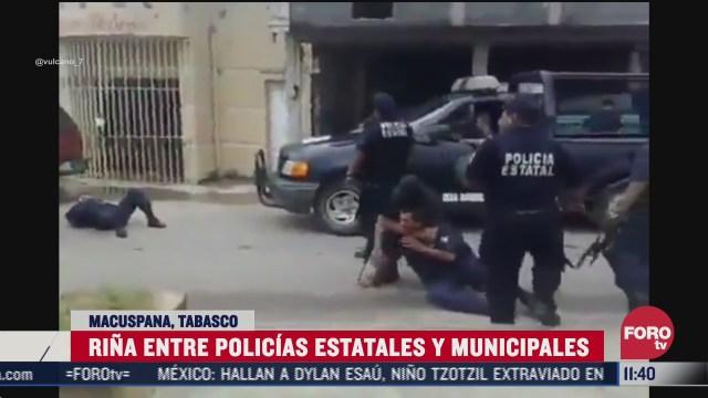 rina entre policias estatales y municipales en tabasco