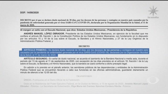 Diario Oficial de la Federación donde se decreta duelo nacional por las victimas y contagios de covid 19 en mexico