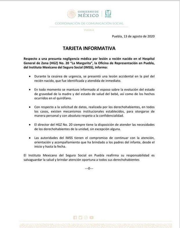 Bebé sufre cortada larga durante cesárea en el IMSS Puebla.