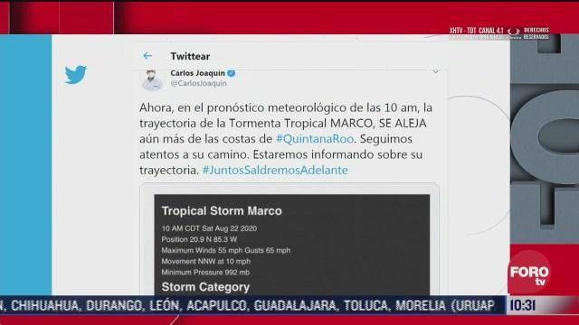 tormenta tropical marco se aleja de quintana roo gobernador carlos joaquin