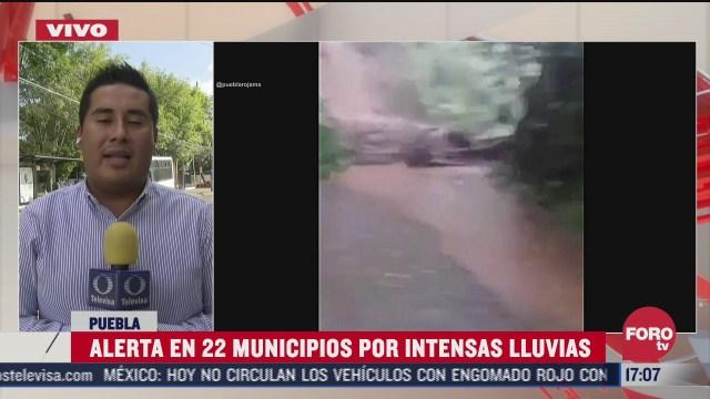 activan alerta en 22 municipios por intensas lluvias en puebla