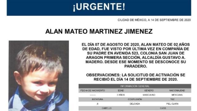 Activan Alerta Amber para localizar a Alan Mateo Martínez Jiménez