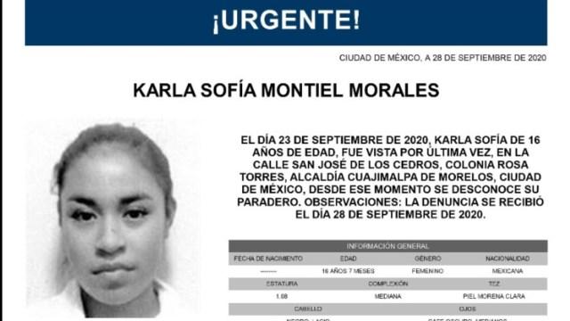 Activan Alerta Amber para localizar a Karla Sofía Montiel Morales
