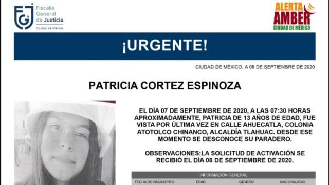 Alerta Amber para localizar a Patricia Cortez Espinoza