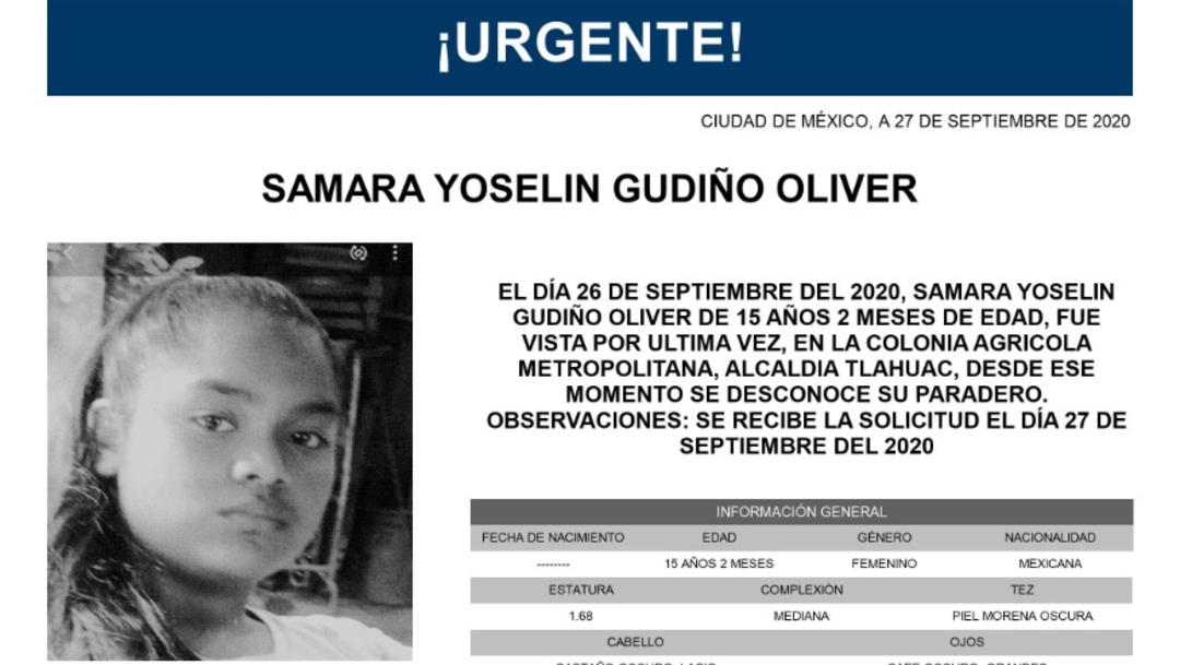 Activan Alerta Amber para localizar a Samara Yoselin Gudiño Oliver