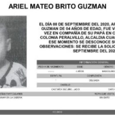 Activan Alerta Amber para localizar a Ariel Mateo Brito Guzmán