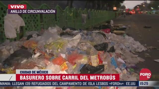 basurero afecta carril del metrobus cdmx