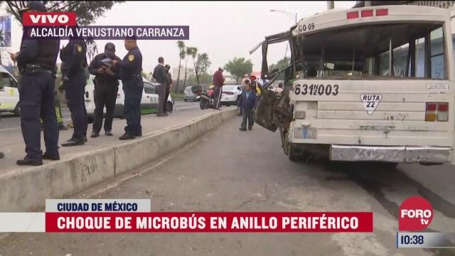 choque de microbus en anillo periferico deja 6 lesionados