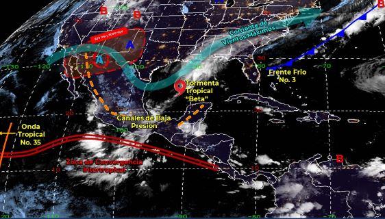 Mapa que muestra los sistemas meteorológicos del sábado 19 de septiembre