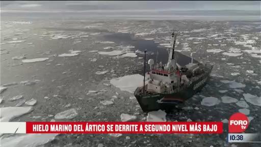 hielo marino del artico se derrite a segundo nivel mas bajo