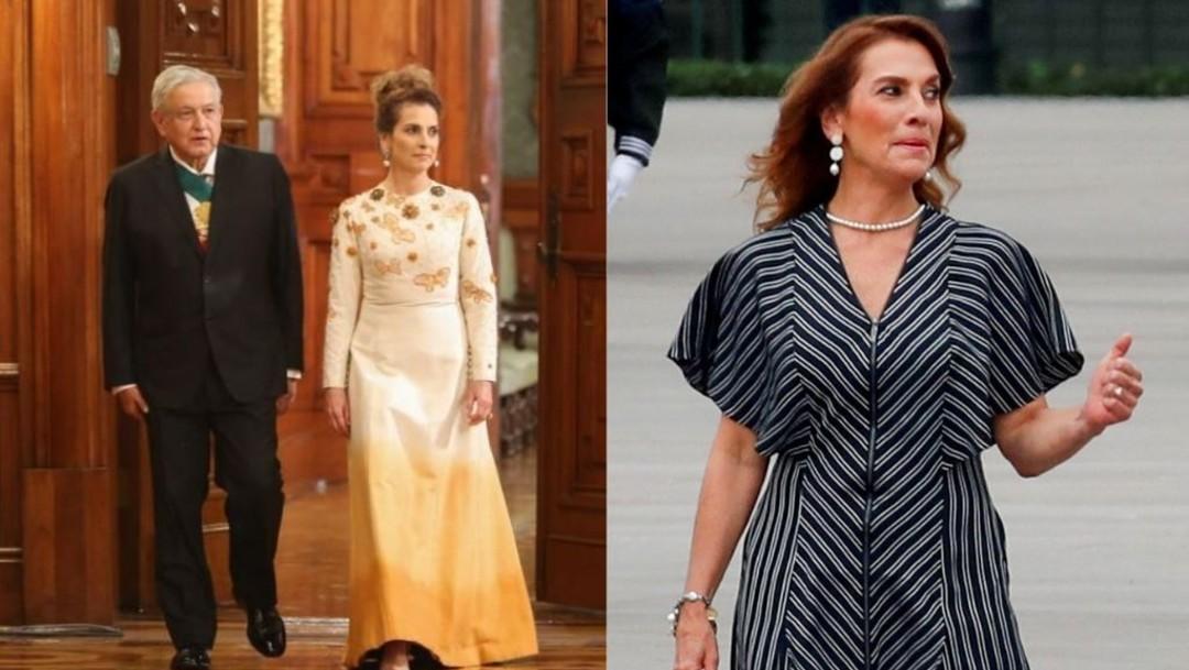 Los vestidos de Beatriz Gutiérrez en las fiestas patrias. (https://lopezobrador.org.mx/ y Reuters)