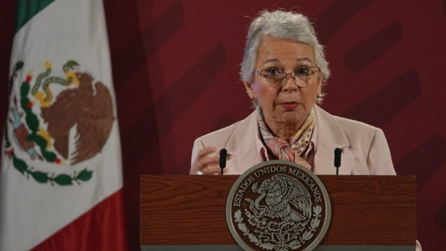 Olga Sánchez Cordero, secretaria de Gobernación, durante la conferencia matutina que se lleva a cabo en Palacio Nacional.
