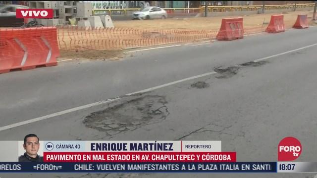 reportan baches en avenida chapultepec