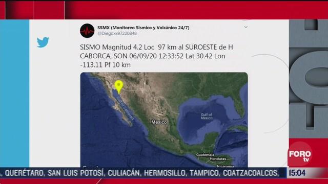 reportan sismo magnitud 4 2 en sonora