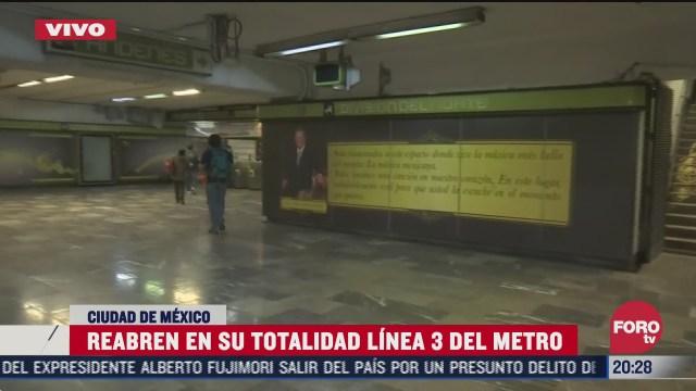 restablecen servicio de la l3 del metro de la cdmx