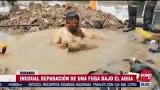 sin equipo reparan fugas de agua en durango