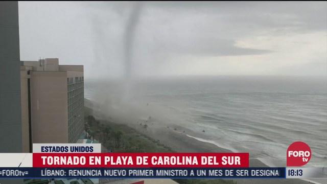 tornado sorprende playa en carolina del sur