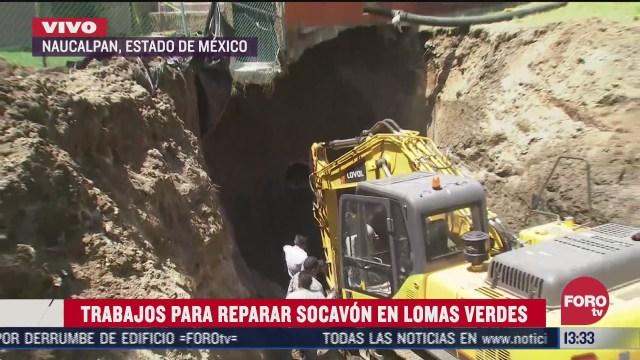 trabajos para reparar socavon en lomas verdes