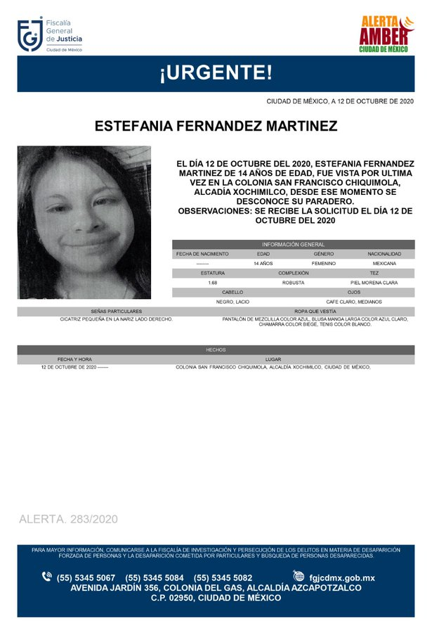 Activan Alerta Amber para localizar a Estefania Fernández Martínez