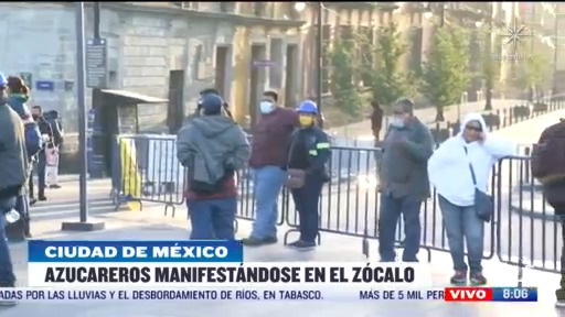 azucareros se manifiestan en el zocalo de la ciudad de mexico