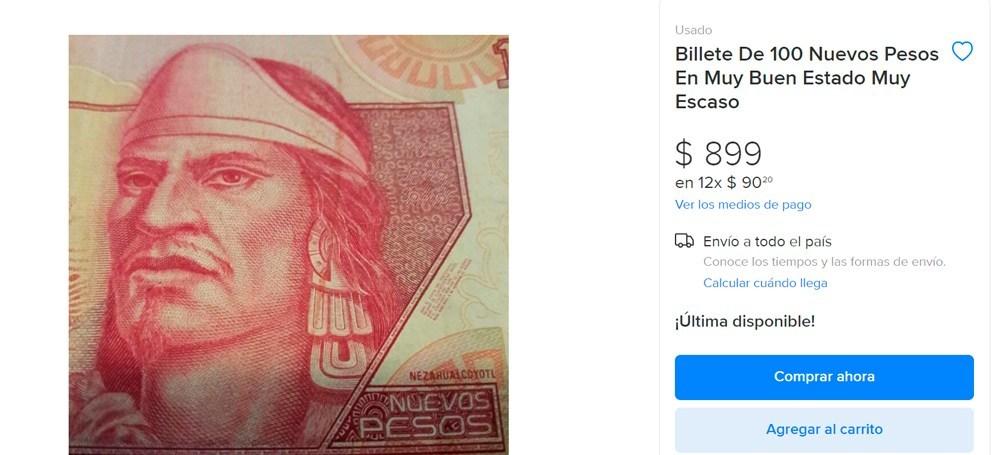 Billete de 100 nuevos pesos de Nezahualcóyotl
