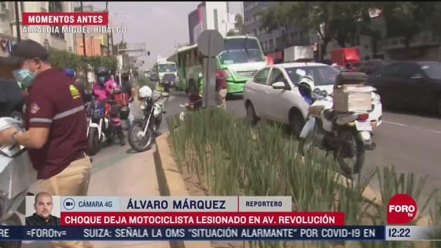 choque deja motociclista lesionado en la miguel hidalgo cdmx
