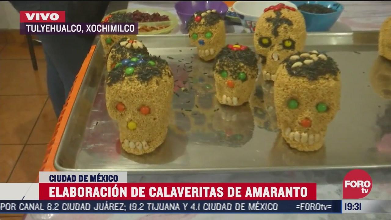 comienza elaboracion de calaveras de amaranto en xochimilco