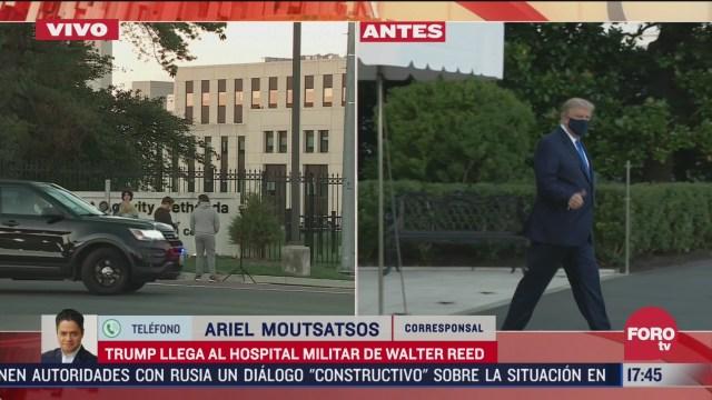 donald trump llega a hospital militar tras dar positivo a covid