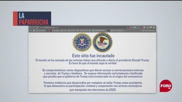 Hackean la página de campaña de Donald Trump, la paparrucha del día