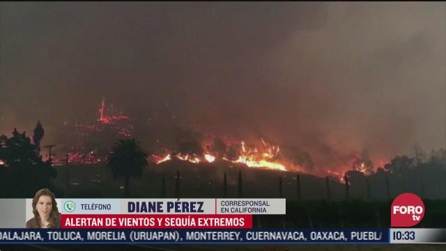 hay alerta roja en california por riesgo de incendios debido a sequia y fuertes vientos