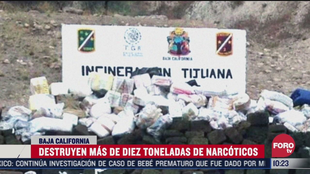 incineran mas de 10 toneladas de droga en tijuana